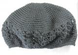 Black Cotton Crochet Beanie