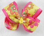 Yellow Hot Pink Spring Flowers Grosgrain Hair Bow