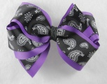 Purple Paisley Black Hair Bow