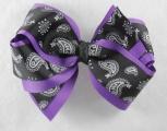 Purple Paisley Black Hair Bow