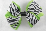 Lime Green Zebra Print Hair Bow