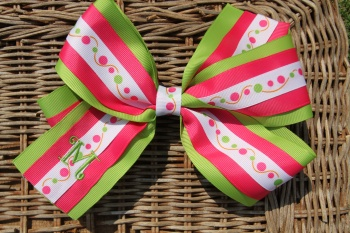 Personalized Lime Green Shocking Pink Polka Dots Bow