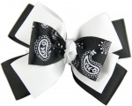 Triple Layer Black and White Paisley Bow