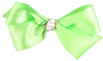 Lime Boutique Bow with Pink and Lime Polka Dots