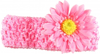 Candy Pink Crochet Headband with Pink Daisy