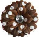Brown White Polka Dot Daisy Clip