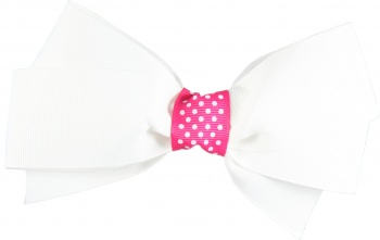 White Hair Bow Pink Polka Dots