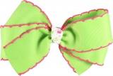 Lime Green Pink Edge Hair Bow