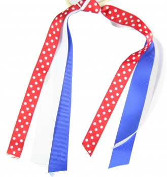 Red White Polka Dots Blue White Ponytail Holder