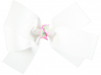 White Lime Green Flowers Bow