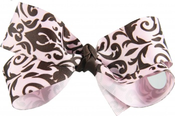 Pink and Brown Paisley Hair Bow
