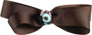 Chocolate Brown with Aqua Dots Boutique Bow
