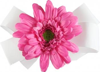 White Bow Pink Gerbera Daisy
