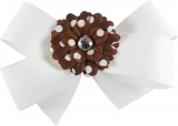 White Bow with Brown Polka Dots Daisy