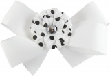 White Bow with Black Polka Dots Daisy