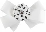 White Bow with Black Polka Dots Daisy