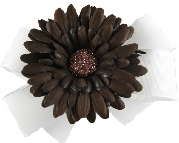 white bow brown gerbera daisy