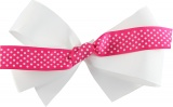 White with Pink and White Polka Dots Bow