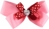 Pink and Red Dots Valentine Bow
