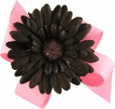 Pink Boutique Bow with Brown Gerbera Daisy