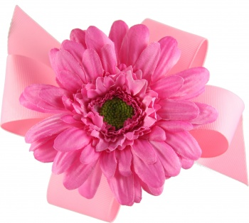 Pink Boutique Bow with Pink Gerbera Daisy