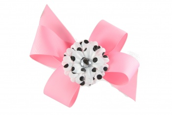 Pink Boutique Bow with White and Black Daisy Flower
