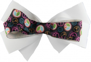 Black Peace Sign White Double Layer Bow