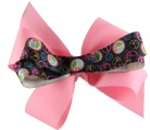 Black Peace Sign Pink Double Layer Bow