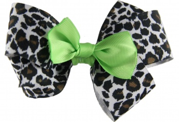 Snow Leopard and Lime Boutique Hair Bow
