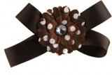 Chocolate Brown with Daisy Flower Hair Bow