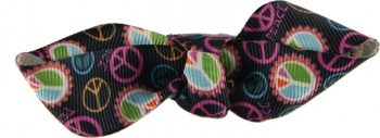 Black Peace Sign Flare Bow