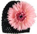 Black Beanie with Pink Spiky Daisy