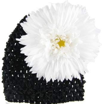 Black Beanie with White Spiky Daisy
