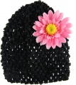 Black Beanie with Pink Silk Daisy