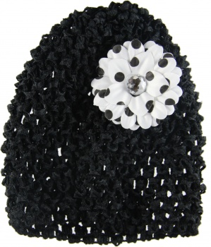 Black Beanie with Black Polka Dots Silk Daisy