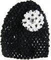 Black Beanie with Black Polka Dots Silk Daisy