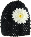 Black Beanie with White Silk Daisy