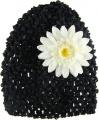 Black Beanie with White Silk Daisy