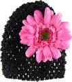 Black Beanie with Magenta Pink Silk Daisy