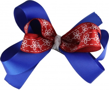 Blue Red White Flower Bow