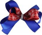 Blue Red White Flower Bow