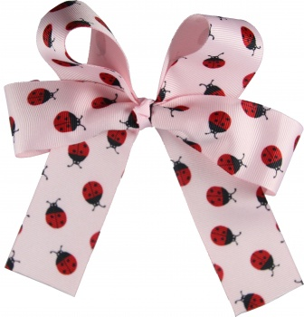 Red Ladybugs Pink Long Tails Bow