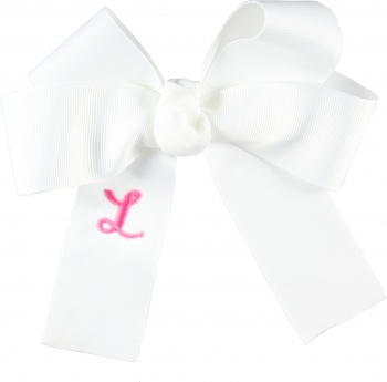 Embroidered White Long Tails Bow
