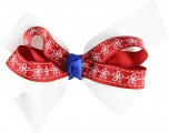 White Red Blue  with White Flowers Bow