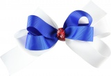 White Blue Red with White Flowers Bow
