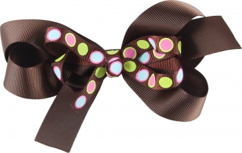 Chocolate Brown with Lime and Pink Polka Dots
