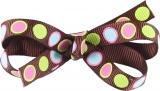 Lime Pink Polka Dots on Chocolate Brown Bow