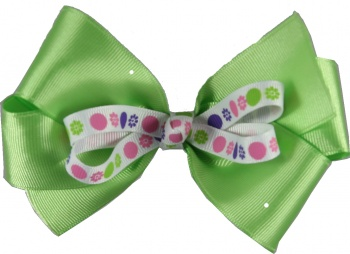 Lime Green with Pink and Lime Polka Dots