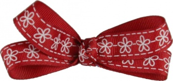 Red with White Flowers Bow