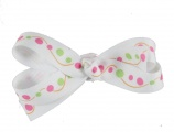 White with Pink and Lime Green Polka Dots
